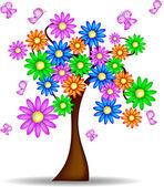 Albero Primaverile con fiori e farfalle — Stock Vector