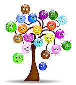Nice tree with colorful smilies with different expression — Stock Vector