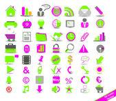 Nuevo conjunto con iconos de colores en el negocio — Vector de stock
