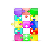 Letter B with colorful puzzle — Stock Vector