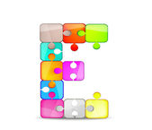 Letter E with colorful puzzle — Stock Vector