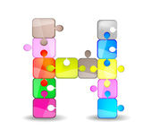 Letter H with colorful puzzle — Vector de stock