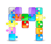 Letter M with colorful puzzle — Stock Vector