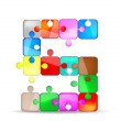Letter S with colorful puzzle — Stock Vector