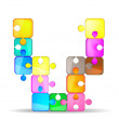 Letter V with colorful puzzle — Stock Vector