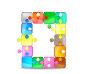 Lettera o con puzzle colorato — Vettoriale Stock