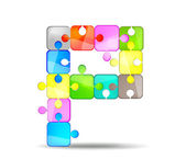 Letter P with colorful puzzle — Stock Vector