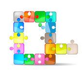 Lettera q con puzzle colorato — Vettoriale Stock