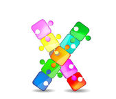 Letter X with colorful puzzle — Stock Vector