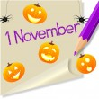 Post it &quot;November 1&quot; Halloween party - Stock Vector