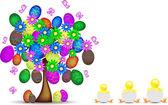 Allegro sfondo di Pasqua con albero, ovetti e pulcini — Stock Vector