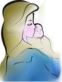 Madonna con Gesù Bambino — Stock Vector