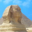 The Sphinx and the Pyramid on the Giza plateau — Stock Photo