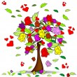 Stock Vector: Tree with roses and hearts