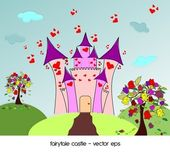 Castle of love with roses trees — Stock Vector