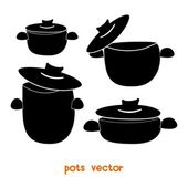 Cooking pots — Vettoriale Stock
