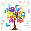 Tree with colored letters — Stock Vector
