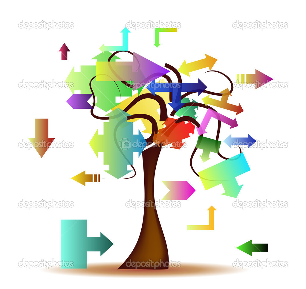 Abstract background with tree and colored arrows  Stock Vector #9784756