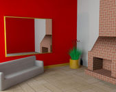 Salle avec cheminée et canapé — Photo