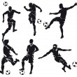 Set of six vector football (soccer) players silhouette with ball — Stock Vector