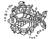 Fantastic fish-city, logo isolated on white background — Stock Vector