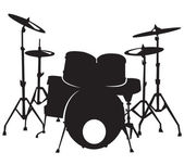 Black silhuette of the drum set, isolated on white background — Vecteur
