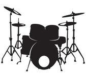Zwarte silhuette van het drumstel, geïsoleerd op witte achtergrond — Stockvector