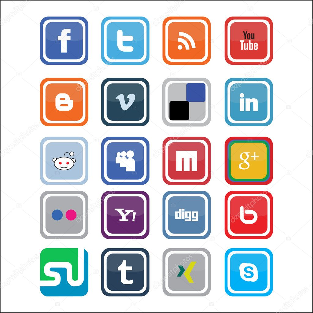 Vector Social Media Icons — Stock Vector #10377996