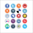 Vector Social Media Icons - Stok Vektör