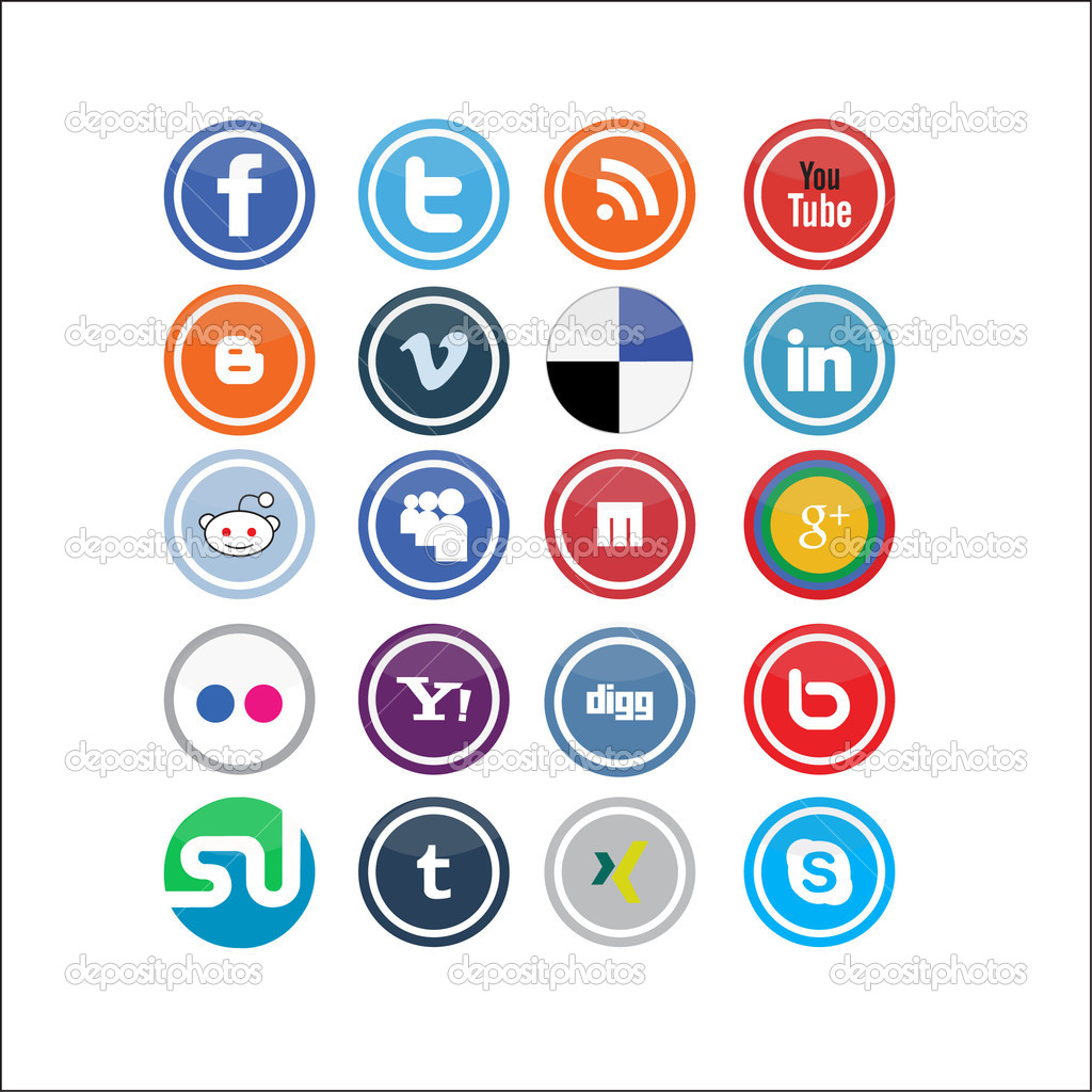 Vector Social Media Icons  Stock Vector #8100342