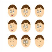 Vector Boy Faces — Stock Vector