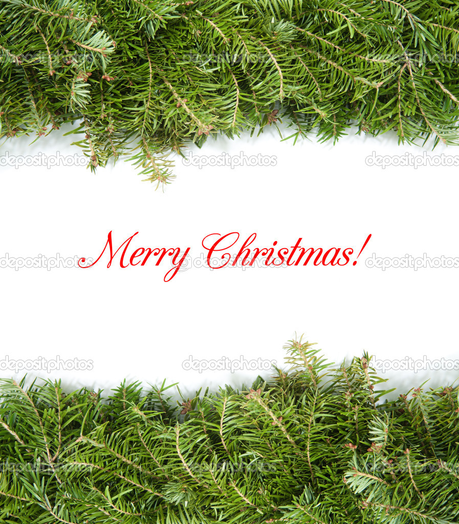 Christmas border with green pine — Stock Photo #8100611