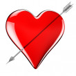 Glass heart with arrow — Stock Photo