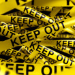 Caution tape with KEEP OUT on it — Stock Photo