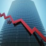 Skyscraper with red graph — Stock Photo #8288961