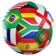 Soccer with flags from world cup 2010 — Stock fotografie