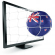 Soccer ball coming out of monitor — Stock Photo #8289337