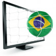 Soccer ball coming out of monitor — Foto Stock