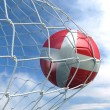 Stock Photo: Soccerball in net