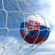Soccerball in net — Foto de Stock