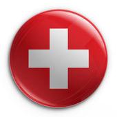 Odznaka - szwajcarska flaga — Zdjęcie stockowe
