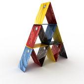 Credit card pyramid — Stock Photo
