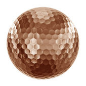 Golfball in bronze — Stock Photo