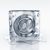 Icecube with email symbol inside — Stock Photo