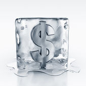Icecube with dollar symbol inside — Stock Photo