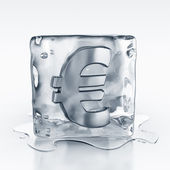 Icecube with euro symbol inside — Stock Photo