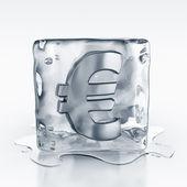 Icecube with euro symbol inside — Stock Photo