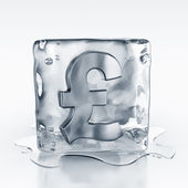 Icecube with pound symbol inside — Stock Photo