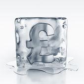 Icecube with pound symbol inside — Stock Photo