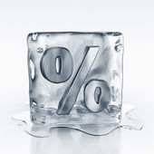 Icecube with percentage symbol inside — Stock Photo